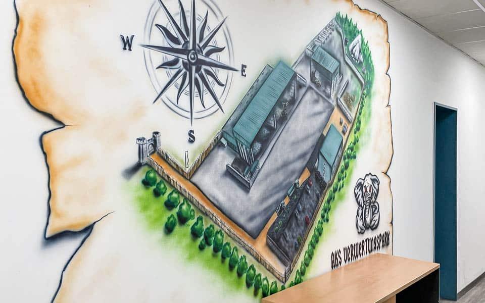 KS Containerdienst Airbrush Illustration der Elefanten als beruehmtes Mittagspausemotiv in den Verwaltungsraeumen des AKS Verwertungsparks